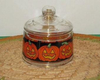"Halloween Pumpkin Jar, 4"" tall"