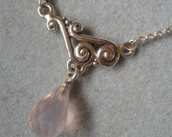 Sterling Silver Swirl Rose Quartz Lariat Necklace #PDT38SS