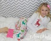 Size 12 slim Turquoise Reindeer Pajamas