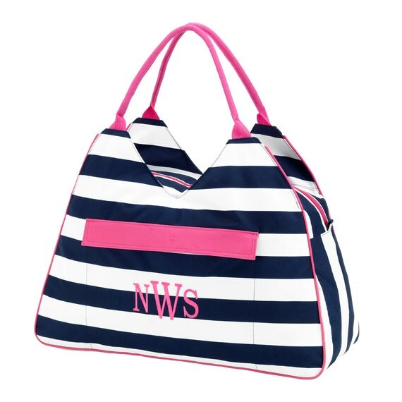 Prep Stripe beach bag  Ultimate tote bag navy blue oversized bag monogrammed tote bag beach bag pool bag summer bag monogrammed gift