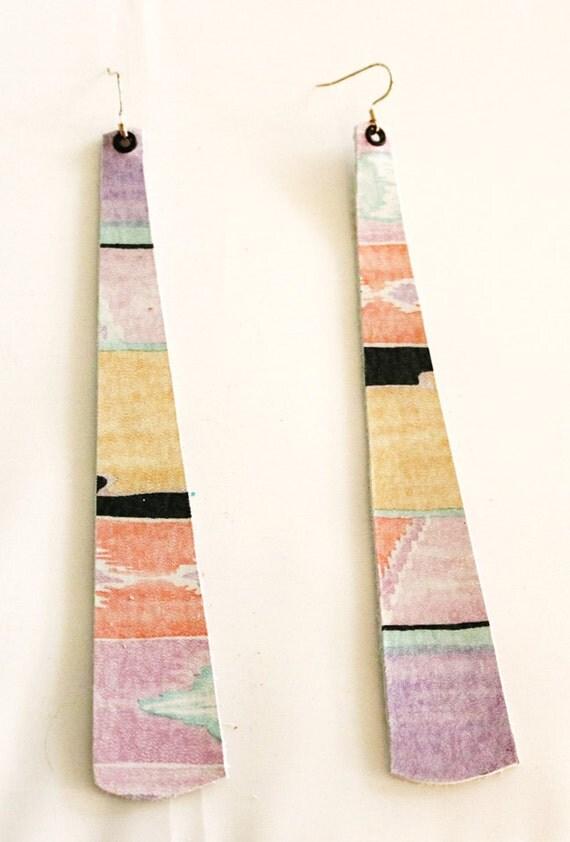 Long strip leather earrings - Lightweight earrings - Dangle Earrings -  Drop earrings - Desert print - Multi color leather earrings - Tribal