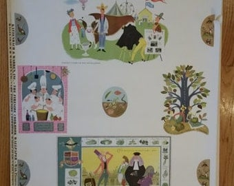 "Vintage Katzenbach & Warren wallpaper of James A. Beard, Alice and Martin Provensen ""The Fireside"" Cookbook"