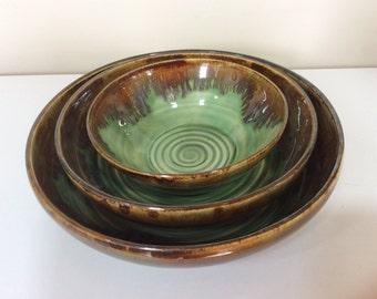 Pottery nesting bowls, Green ceramic bowls