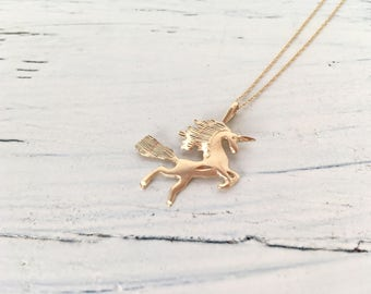 Vintage Unicorn Necklace | Quirky Charm Necklace | Birthday Present | 14k Yellow Gold Necklace | Unicorn Jewelry | Little Pony Necklace