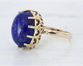 SALE Vintage Cocktail Ring | Sodalite Ring | Bold Gemstone Ring | 14k Yellow Gold Statement Ring | 1970s Ring | Navy and Gold | Size 5.75