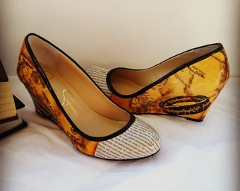 Lord of the Rings Wedges, The Hobbit, Map of Middle Earth, LOTR Heels, Fantasy Heels, Book Shoes, Book Heels, Book Wedding Shoes, Book Lover