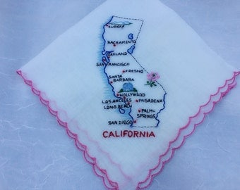 Vintage Ladies Handkerchief, California Souvenir, White, Hand Embroidered, Dainty, Sheer, Gift Item