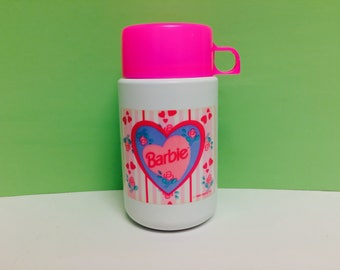 Vintage Barbie Thermos, Barbie Thermos with Hearts, Mattel 1996, Barbie Collectible, Pink Hearts, Pink Flowers, 1990s Barbie, Lunch Thermos