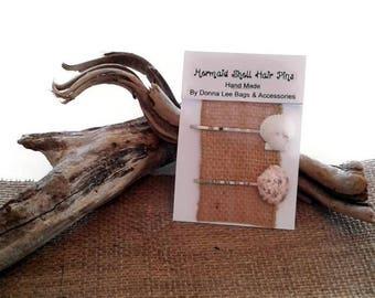 Natural Seashell Bobby Pins, Florida Seashells, Mermaid Hair Pins, Beach Hair Accessories, Handmade Gift for Women and Girls By DonnaLeeBags