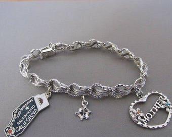 Vintage Bracelet, Sterling Silver Charm Bracelet, Mother, California, Flower, Ribbon, Collectible Jewelry