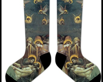 s53 - GIOTTA Arena LAMENTATION of CHRIST Socks  -  classic vintage painting painter renaissance