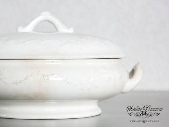 Vintage Ironstone Tureen, Vegetable Bowl- French Country Shabby Chic Farmhouse