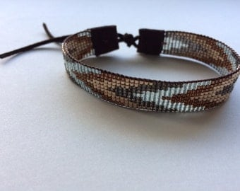 Tapestry Loomed bracelet.tribal,women,woven,leather,suede,brown,girlfriend