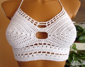 Crochet top, halter top, top bra, beach crochet top, festival top, hippie top, crochet crop top,festival clothing, yogatop,woman body