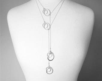 Multi Strand Silver Necklace Layered Necklace Silver Long Lariat Necklace Sterling Silver Necklace 2 Necklace Set Long Lariat Necklace