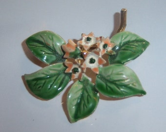 Green Brooch. Enamel Fruit Tree In Bloom Branch.