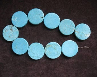 Natural Himalayan Turquoise Bead Strand 49mm x 6.5mm, Natural Turquoise Beads, Large Coin Shaped Turquoise