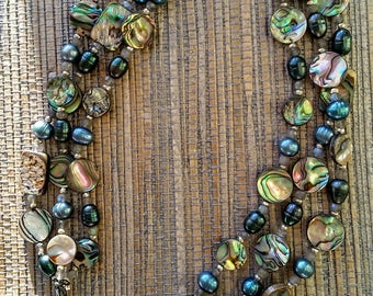 Triple Strand Abalone Mix Necklace
