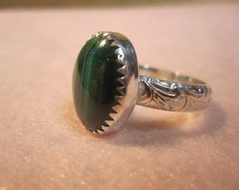 Malachite Serrated Pattern Sterling Silver Ring