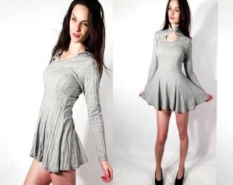 Vintage Gray Dress / Long Sleeve Dress / Midi Dress / Day Dress / Spring Dress / Collared Dress Size S / M