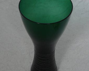 50s 60s Glass VASE Deep Green w/ Strings around the glass, mouth blown handcrafted German Mid Century