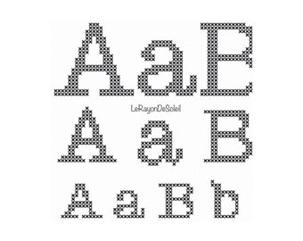 3 sizes cross stitch alphabet font American typewriter, PDF Instant download