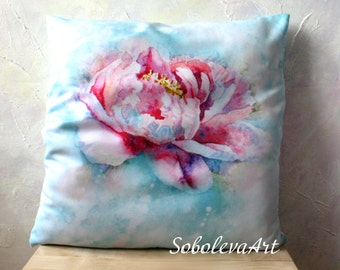 Peony Pillow Peony Watercolour Throw Pillows Watercolor Pillow turquoise pillowcase Cushion Cover Peony Decorative Floral Pillow art case