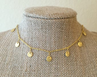 Gold Dangle Coin Choker/Necklace
