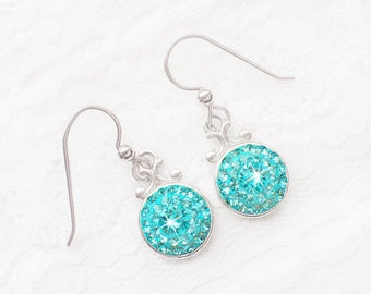 Light Turquoise Swarovski Crystal Post Earrings, Sterling Silver Light Teal Blue Swarovski Crystal Earrings, Aqua Blue Bridesmaid Earrings