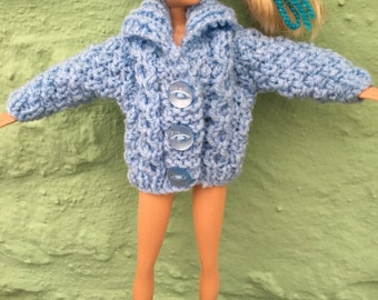 Sindy / Barbie hand knitted aran-type cardigan - various colours made to order