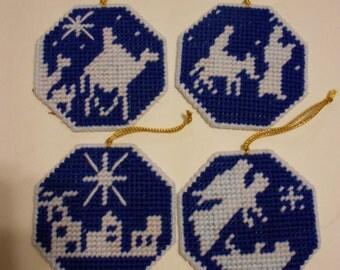 Nativity ornaments -  plastic canvas - religious - tree ornaments - Christmas