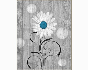 Blue Dasiy Flower Rustic Modern Country Farmhouse Floral Home Wall Art Matted Picture