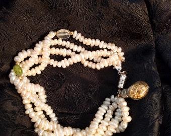 Large Freshwater pearl & gemstone bracelet