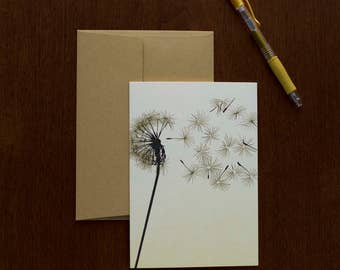 Dandelion Greeting Card | Handmade | Letterpress Printed | For Him | For Her
