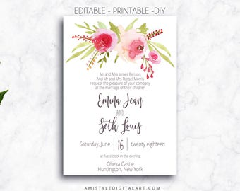 Printable Wedding Invitation, Editable, PDF, Printable, Instant Download,Editable PDF,Invitation template,Wedding Invitations,PDF Invitation