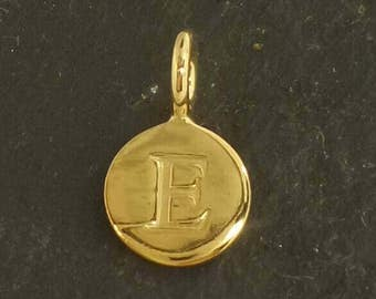 Gold on sterling silver round letter charm E , gold initial E charm,  stamped gold letter charm  , E gold vermeil initial charm