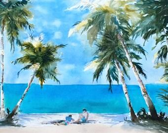 Palm trees beach Hawaii watercolor original painting 13 x 19