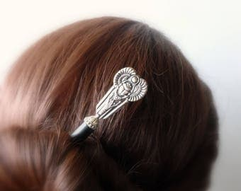Gift for Sister or Girlfriend Wood Hair Stick with Vintage Silver, Wooden Hairstick, Wood Hair Fork,   1 pce  7.5'' Total Length