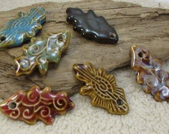 Porcelain Leafs, 6 Porcelain Textured Leaf Pendants, Leaf Pendants, Necklace Pendant, Wire Wrapping Leafs, Item 946m