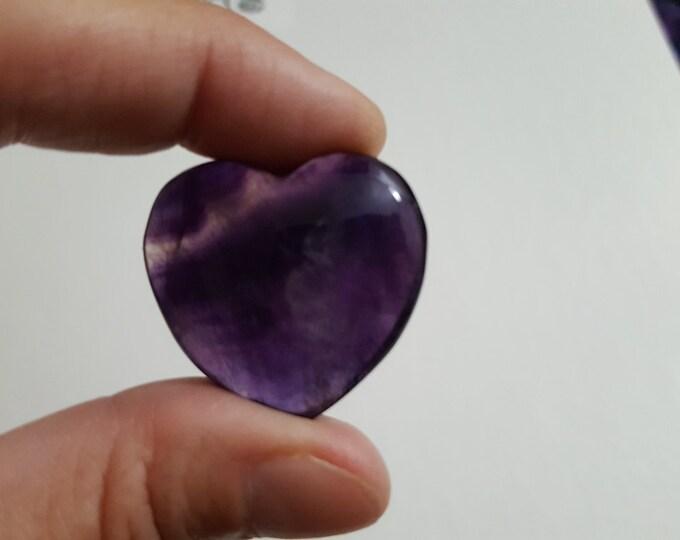 Rainbow Fluorite Heart ~ One 28x30mm Reiki infused gemstone heart (FLH04)