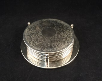Set of 6 Silver Plated Coasters Complete with Caddy