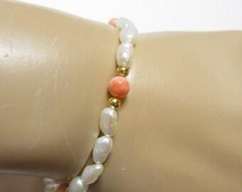 Vintage Rice Freshwater Rice Shape Pearl and Angel Skin Coral Bracelet