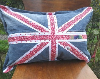 Union Jack - Cushion of Jeans Upcycling Great Britain Recycling, Patchwork