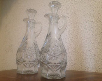 Vintage Pressed Glass Cruet Set | Vinegar and Oil Decanter Set | Salad and Sandwich Supplies