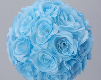 Silk kissing pomander flower ball LIGHT BLUE