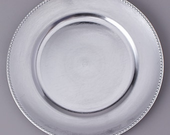 """13"""" Silver Plastic charger plate (set of 4 plates)"""