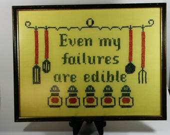 Framed kitchen cross stitch-even my failures are edible-vintage kitchen wall art-hand made