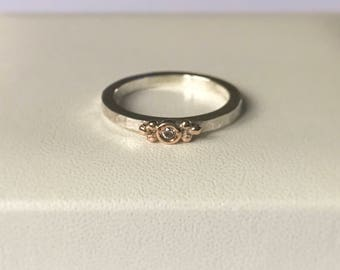 Pink Diamond ring silver stacking ring with natural pink diamond set in Rose gold