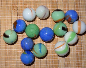 Lot of 15 Vintage Marbles / Glass Marbles / Toy Marbles / Game Marbles