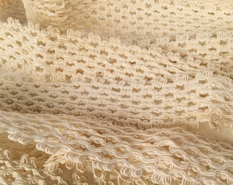 """Vintage 50s Trim, Gimp Trim, Cream, Off White, Soutache, W 1 1/2"""", L 9+ Yards, Sold as a Whole, Soft, Upholstery, Dressmaking, Natural Look"""